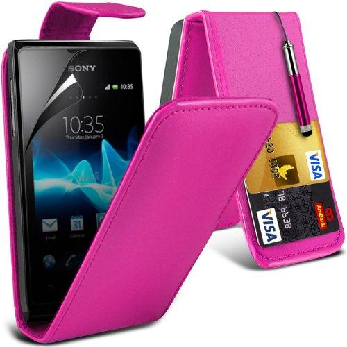 fonecase-hot-pink-sony-xperia-e-schutzende-faux-credit-debit-card-leder-flip-skin-case-cover-einzieh