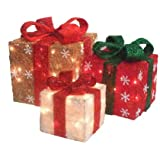 Set of 3 Gold, Red & Cream Sisal Gift Boxes Lighted Christmas Yard Art