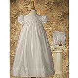 Baby Girls White Lattice Bodice Christening Baptism Dress Gown 3-12M