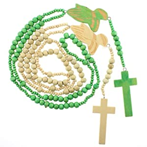 Set of Two Wood Rosary Style Necklaces with Praying Hands Centerpiece - Green and Beige