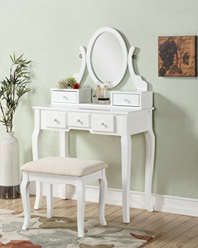 Check Out This Roundhill Furniture Ashley Wood Make-Up Vanity Table and Stool Set, White