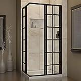 DreamLine-French-Corner-34-12-in-D-x-34-12-in-W-Framed-Sliding-Shower-Enclosure-532-Glass-Satin-Black-Finish