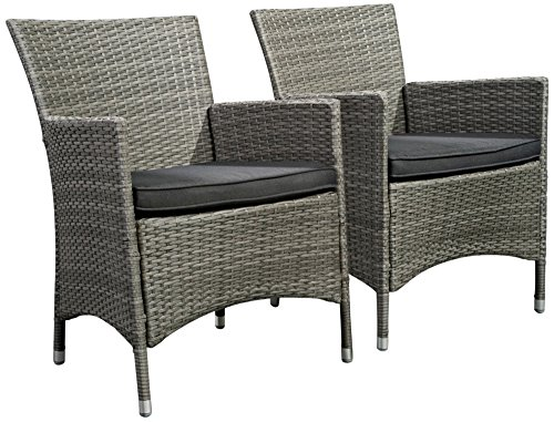 Atlantic Set Of 2 Liberty Gray Wicker Arm Chairs