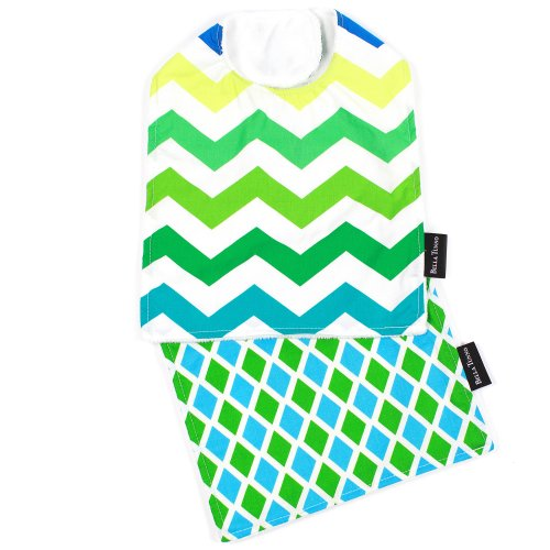 Bella Bib and Burpie Bundle, Lagoon Chevron/Taffy Tiles (Discontinued by Manufacturer)