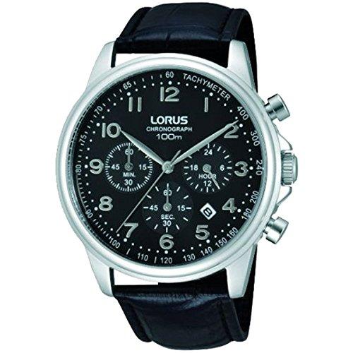 Caja de acero inoxidable Lorus RT337DX9 43 mm color negro de piel de becerro con el reloj de los hombres de Mineral