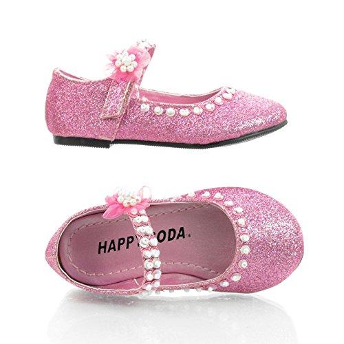 Veeriisq Infant Toddler Baby Girl Mary Jane Velcro Strap Glitter Dress Shoe (7 M Us Infant, Pink Glt) front-932181