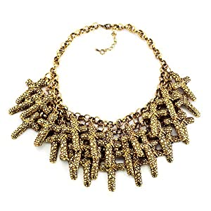 Pugster Vintage Golden Chain Jewelry Chunky Cross Adorned Bubble Bib Statement Pendant Necklace