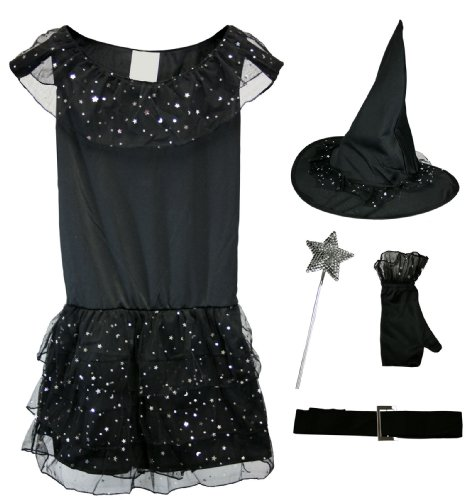 Fun World Witch Halloween Costume Girls Size 8-14 Black [118602 & ND31 W16433]