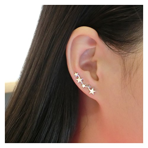 Yan & Lei Sterling Silver Mix Linked Stars Ear…