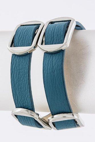Trendy Fashion Jewelry Buckle Wrap Bracelet By Fashion Destination | (Blue/Silver)
