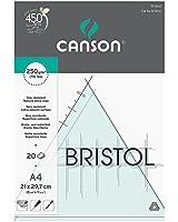 Canson Arts graphiques Bloc papier Bristol 20 feuilles 250g A4 21 x 29,7 cm Extra Blanc