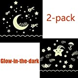Glow in the Dark Moon and Stars Wall Decal Sticker(2-pack)