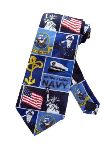 Steven Harris Mens United States Navy Necktie - Navy Blue - One Size Neck Tie