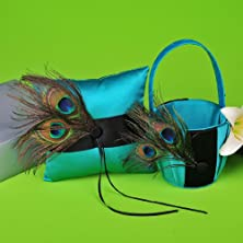 buy Wedding Flower Basket And Ring Pillow Set W Peacock Feather