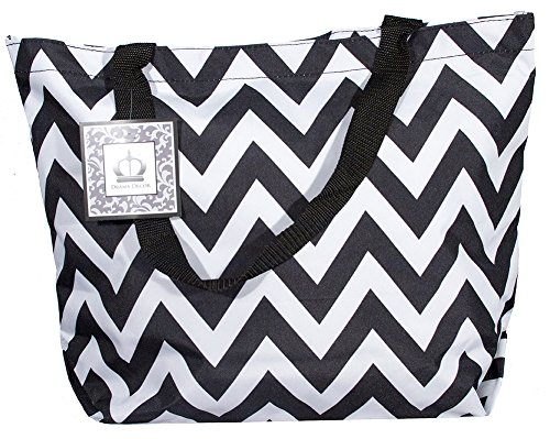 Large Chevron Zig Zag Velcro Closure Tote Travel Beach Carry All Bag