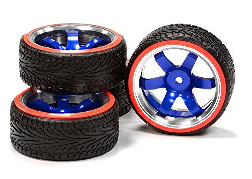 Integy RC Hobby C24797BLUERED Billet Machined Alloy B6 Spoke Wheel 0 Offset + Drift Tire (4) Set (O.D.=64mm) (Rc Car Tire Tool compare prices)