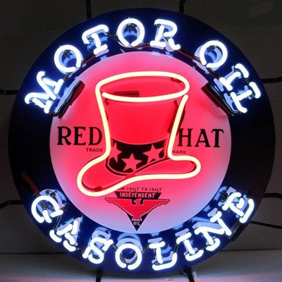 Red Hat Gasoline Neon Sign ord american auto racing neon sign decorate glass tube car neon bulb recreation room indoor frame sign store wall displays 24x20