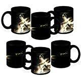 HomeSoGood How Fast Can You Run Black Ceramic Coffee Mug - 325 Ml (Set Of 6)