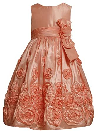 Bonnie Jean Big Girls' Bonaz Trim Taffeta Dress, Coral, 14