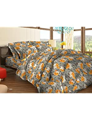 Bombay Dyeing Tuberose Cotton Double Bedsheet with 2 Pillow Covers - Orange (05688501)