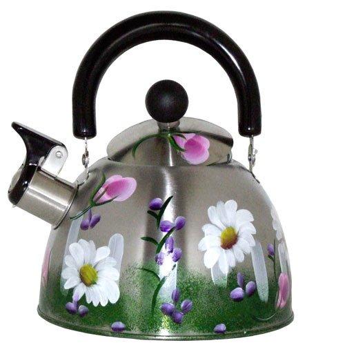Artisanstreet'S Garden Design Hand Painted Whistling Tea Kettle