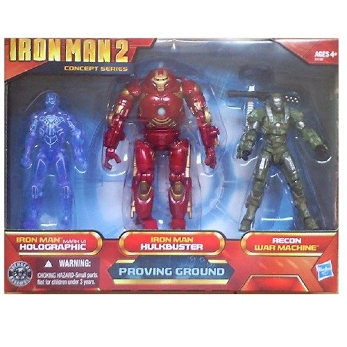 Iron Man 2 Movie Exclusive Concept Series 4 Inch Action Figure 3Pack Proving Ground Holographic Mark VI, Hulkbuster Armor Recon War Machine (Iron Man Action Figure )