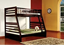 Hot Sale Espresso Finish Wood Twin Over Full Size Convertible Bunk Bed (Bunkbed)