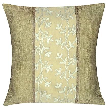 Silk-Square-Throw-Pillow-Cushion-Cover-16-x-16-Inches