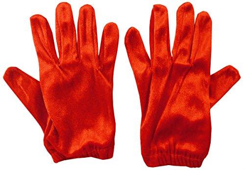 Red Velvet Short Length Gloves- Fancy Dress, Santa Gloves, Prom Gloves