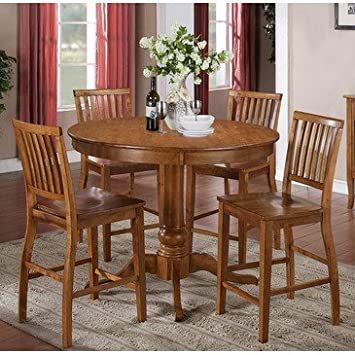 Steve Silver Candice 5 Piece Round Counter Table Set in Oak