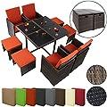 17-teilige Luxus Rattan Sitzgruppe BELLINI mit 4 Stühlen, 4 Hockern und 1 Tisch von BB Sport bei Gartenmöbel von Du und Dein Garten