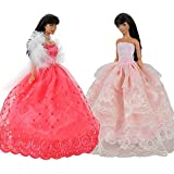 E Ting 2 Pcs Beautiful Party Dress Ball Gown Doll Clothes Doll For Barbie Dolls Red And Pink Set