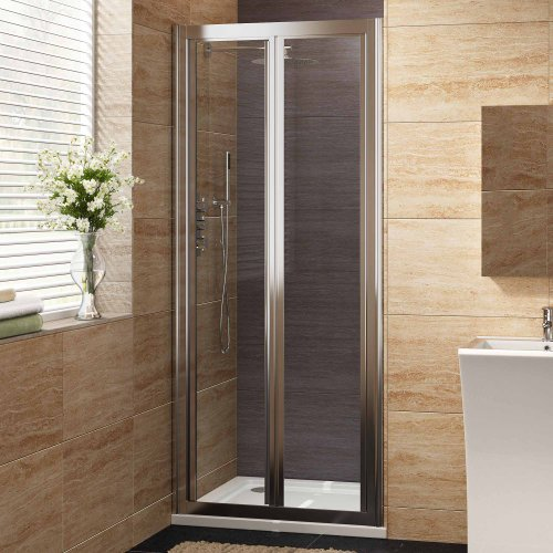 900mm Designer Bi-Fold EasyClean Glass Shower Enclosure Cubicle Doors Set