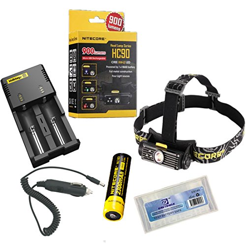 Nitecore Hc90 Headlamp New Version For Hiking Climbing Camping Outdoor Activities Cree Xm-L2 Led Maximum Output 900 Lumens Maximum Runtime 200 Hours (Hc90 Headlamp+I2 Charger+Car Charger+1*Nl183 Battery+1*Battery Box)