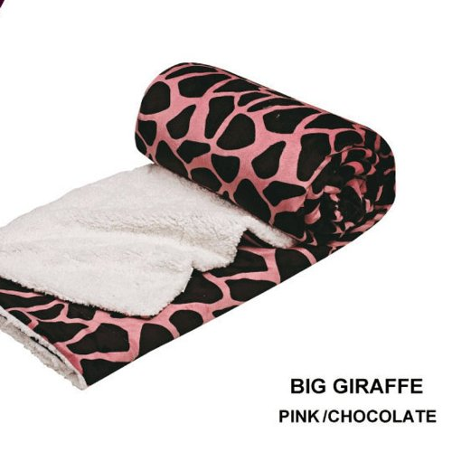 Queen Blanket Sumptuously Soft Plush Pink Big Giraffe Animal Print Sherpa Blankets / Reversible Winter Bedspread