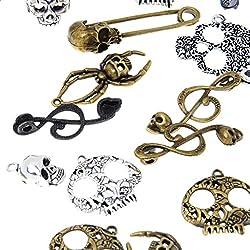 Phenovo 100pcs Assorted Antique Skull Charm Pendant Lot Connector Jewelry DIY Craft