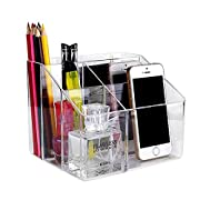 Pasutewel Remote Control Holder, 5 Grids Acrylic Remote Storage Organizer - Tidy & Space Saving Media Storage