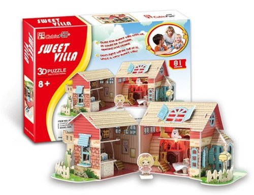 Cubic Fun 84-Piece Sweet Villa Led Lighting Paper 3D Jigsaw Puzzle