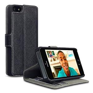 Terrapin Delux Leder Tasche Case Hülle im Bookstyle mit Standfunktion Kartenfächer für iPhone 5S Schwarz