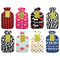 Zebra Hot Water Bottle with Soft Fleece Cover