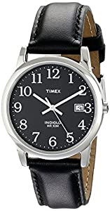 Timex® Men's Classic EZRead Analog Silver Case Black Leather Strap Watch #T2N370