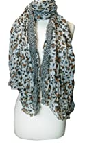 Trendy Off White & Brown Leopard Print Crinkled Scarf