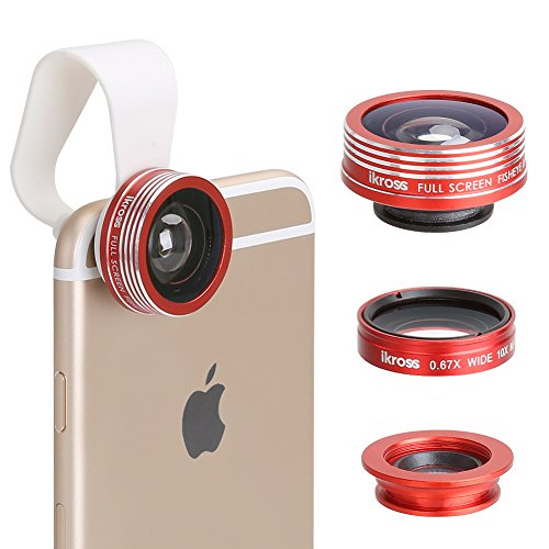 iKross 3 in 1 Universal Fish Eye + Wide Angle + Macro Clip On Phone Camera Lens Kit For iPhone 6 4.7, 6 Plus 5.5, Samsung Galaxy S6, Galaxy S6 Edge, Galaxy S5, Galaxy Note, HTC One M9 Smartphone and more