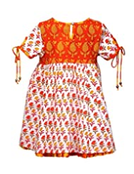 Budding Bees Girls White & Orange Printed Emprie Dress