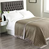 Paoletti Wimborne Sateen Quilted Bedspread, Taupe
