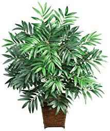 Nearly Natural 6556 Bamboo Palm with Wicker Basket Decorative Silk Plant, Green by Nearly Natural