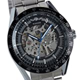 WM174 ESS Mens Black Bezel Skeleton Stainless Steel Automatic Wrist Watch