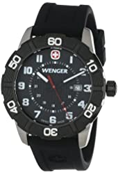 Wenger Roadster Black Stainless Steel Watch with Silicone Strap