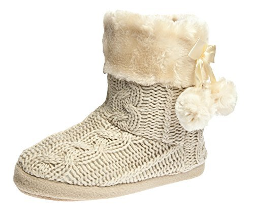 Ladies Slippers Women's slipper Boots Faux fur lined with pom poms 100 Cheap Thoughtful Gift Ideas For Her Under £20