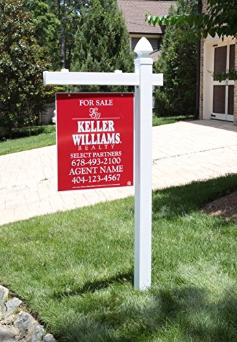 Vinyl PVC Real Estate Sign Post - White - 6 Tall Post